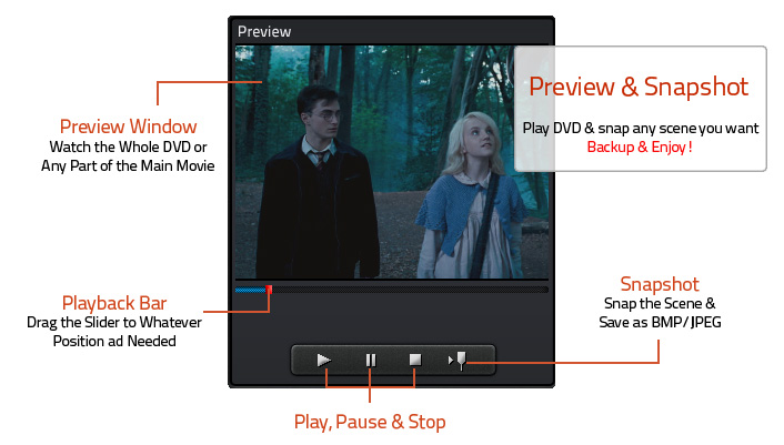Preview DVD Movies & Take snapshots